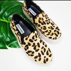 Madden Leopard Print Calf Hair Slip-On Sneakers